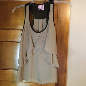Love on a Hanger Taupe and Black Racer Back Tank